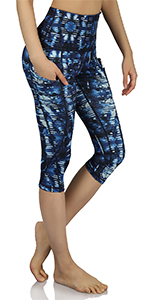 High Waist Out Pocket Printed Yoga Capris Leggings
