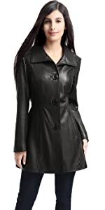 BGSD Women's Belle Lambskin Leather Walking Coat