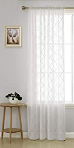 sheer curtains rod pocket trellis embroidered voile 84 inch length