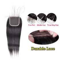 100g 1b natural black human hair straight wave bundles with closure