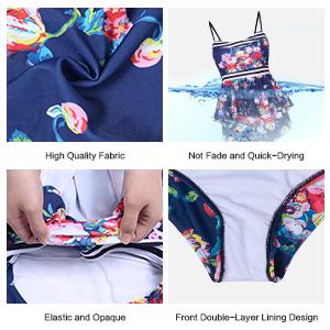 MARINAVIDA Women's Two Piece Bathing Suit Ruffle Top Retro Printed Tankini High Waist Swimsuit]