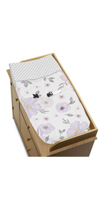 Lavender Purple, Pink, Grey and White Changing Pad Cover for Watercolor Floral Collection