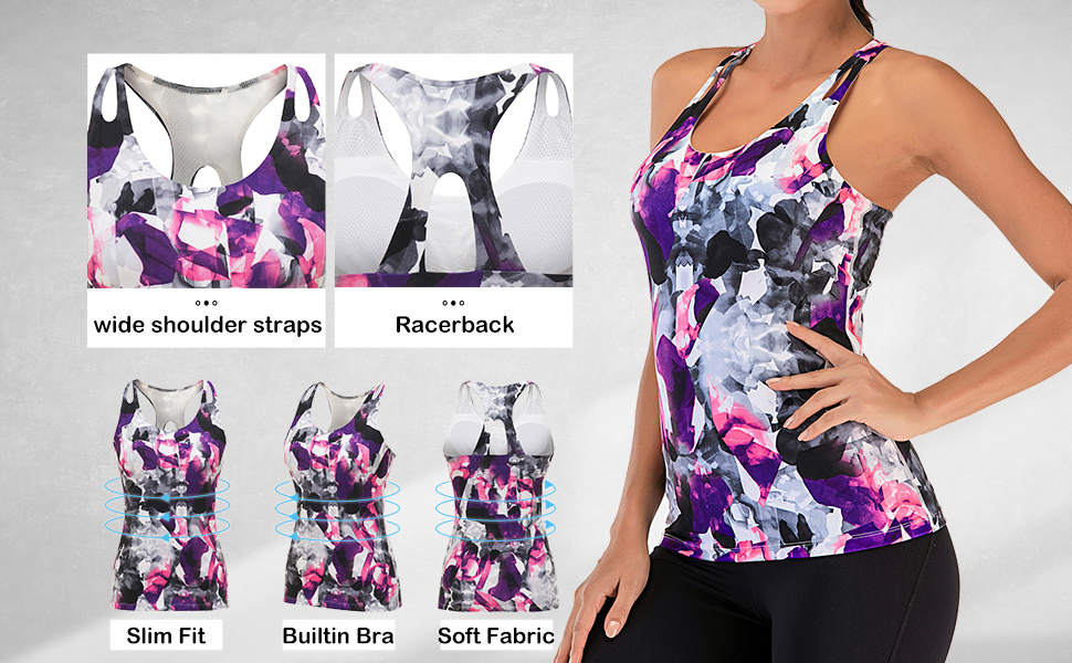 Aonour Workout Tops for Women Built in Bra Tank Tops for Women Cross Back Yoga Tops Slim Fit Gym Clothes for Women Black M