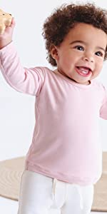 organic bamboo baby long sleeved top shirt tee t-shirt in pink for baby girl infant toddler