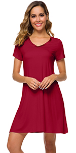 WiWi Women's V Neck Bamboo Nightgown Soft Short Sleeve