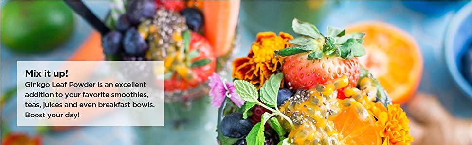 gingko leaf powder extract raw natural vegan no-fillers superfood