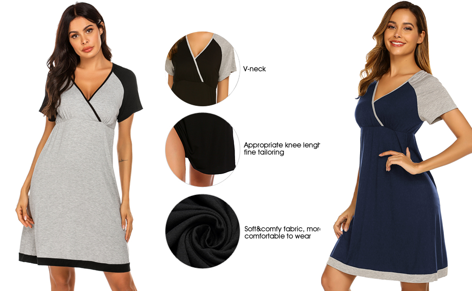 soft nightgown nightshirt v neck sleepshirts