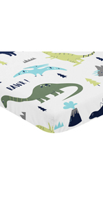 Navy, Turquoise and Grey Dinosaur Baby Boy Fitted Mini Portable Crib Sheet for Mod Dino Collection