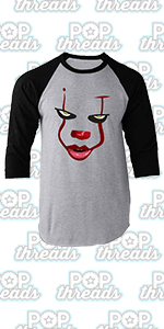 Pop Threads You'll Float Too Loser Lover Horror Scary Clown Raglan Baseball Tee Shirt