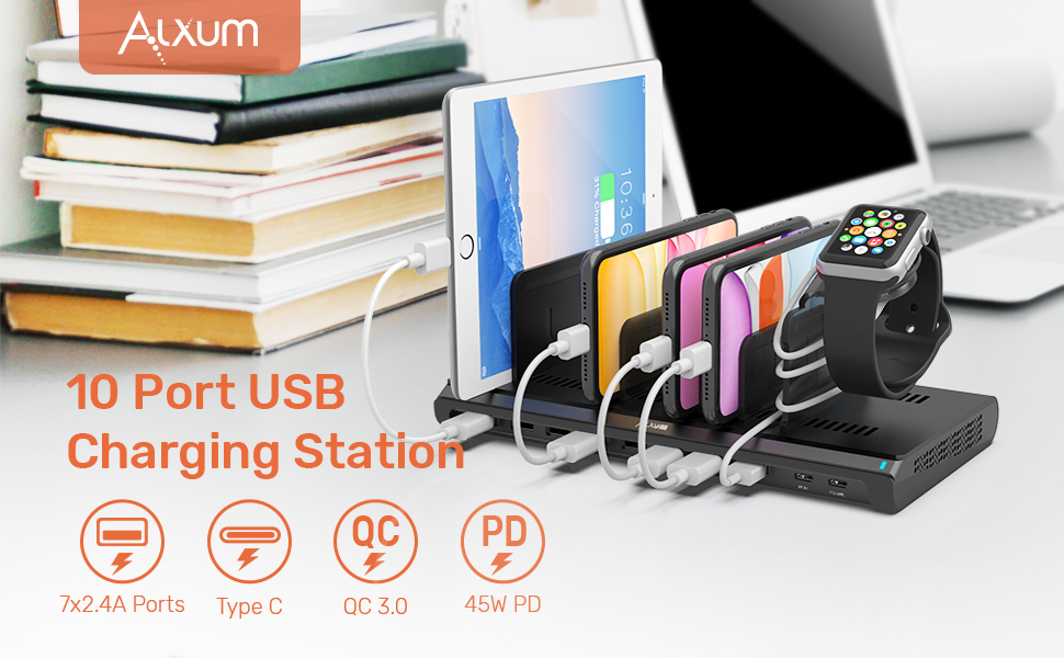 usb c pd charging station 10 port usb charger station ipad charging station usb type c quick charge