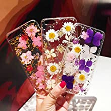 colorful pressed flower Phone case decor