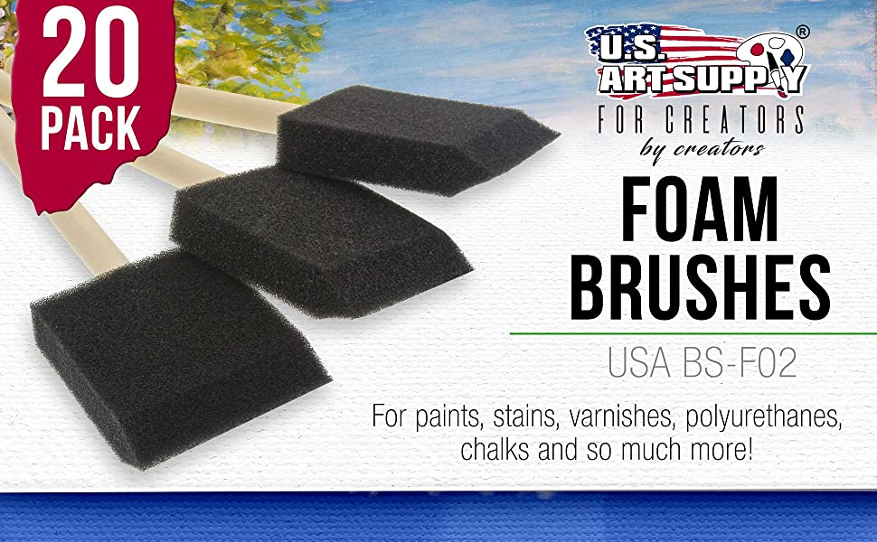 20 Pack Foam Brushes for paints, stains, varnishes, polyurethanes
