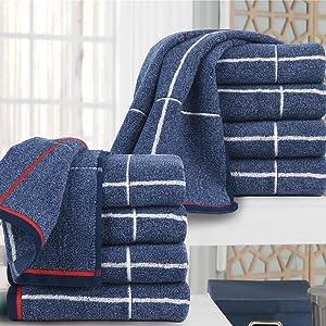 Dark Blue Towel Set - 10 Pack