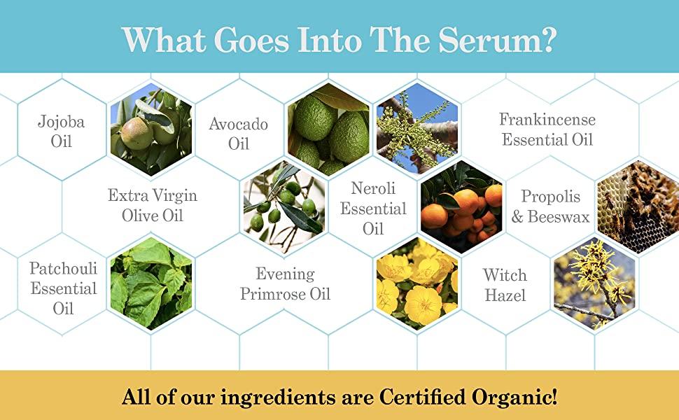 Natural essence of ingredients in serum