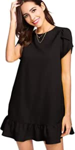 Black Ruffle Hem Dress