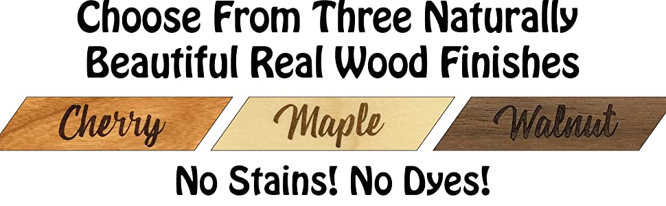 fisharply name tags three wood options cherry maple walnut no stains no dyes all natural wood