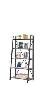 5 tier tall ladder bookcase bookshelf
