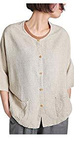 Women's Button Down Loose Linen Cotton Blouse