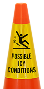 Possible Icy Conditions Traffic Cone Message Collar, Prismatic Reflective PVC