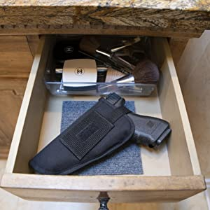 Safely store in a drawer with no sliding, protecting the gun & objects around it.