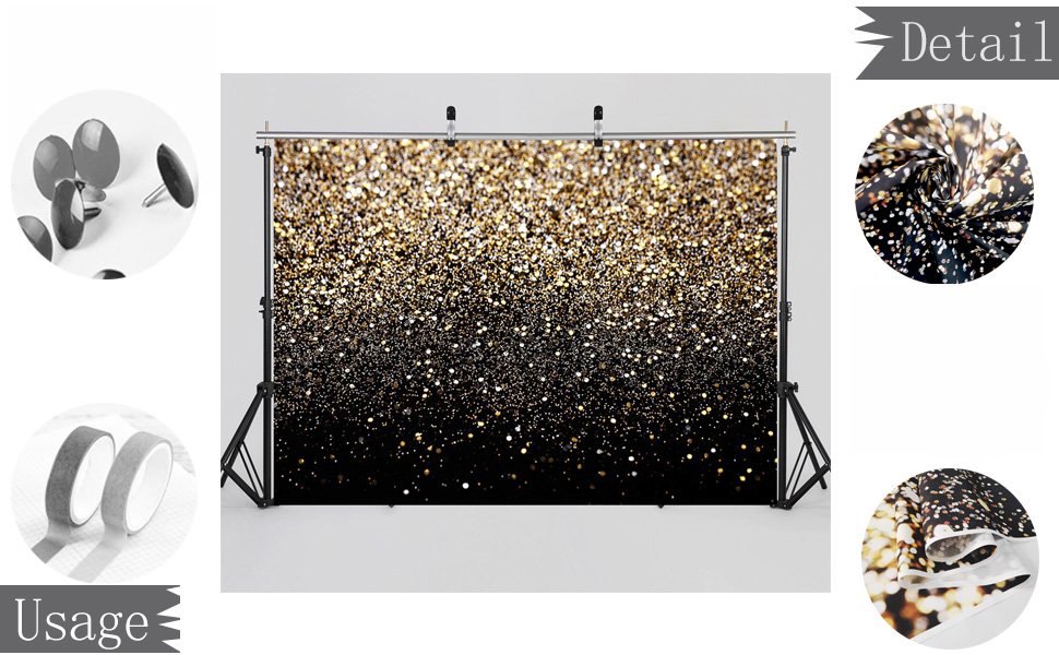Gold Glitter Backdrop Golden Bokeh Wedding Adult Baby Family New Year portrait Photography backdrops