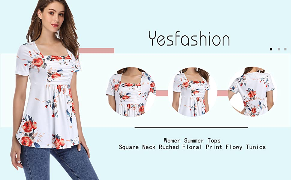 Yesfashion suqare neck ruched flower print short sleeve a line tunic tops