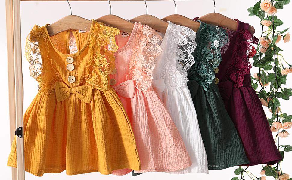 JBEELATE Toddler Baby Girl Casual Sleeveless Dress Summer Ruffle Button Down Dresses Cotton Linen Floral Tutu Skirts