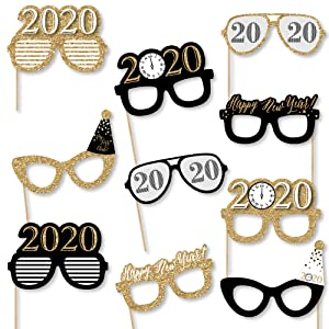 New Year's Eve Glasses - Gold - 2020 Paper Card Stock New Year's Party Photo Booth Props Kit