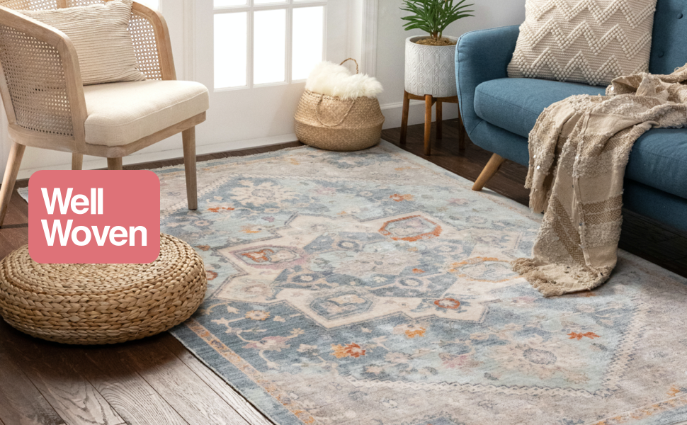 Well Woven Tivoli Collection Grote Blue Vintage Distressed Area Rug with Fringe