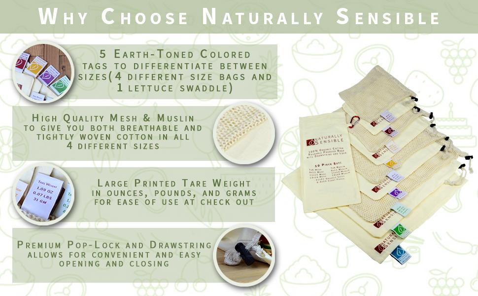 Reusable Produce Bags Zero Waste Muslin Mesh Storage Food Bag Stasher Bulk Veggie Fruit Cotton Snack