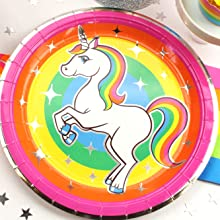 Silver Lining Rainbow Unicorn 9 inch paper plate with foil sparkles white unicorn gay pride LGBTQ
