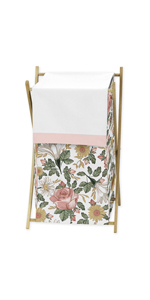 Vintage Floral Boho Baby Kid Clothes Laundry Hamper - Blush Pink, Yellow, Green and White
