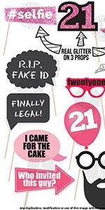 21st Birthday Decorations For Women 21st Birthday Party Supplies For Women 21st Birthday Photo Props