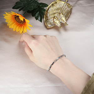 Bracelet Beaded Link Chain Bracelet silver tone