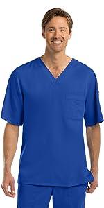 model wearing Men's Grey's Anatomy 3-Pocket V-Neck Scrub Top