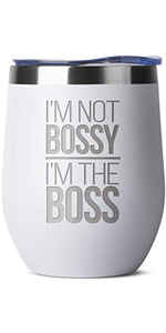 I'm Not Bossy, I'm The Boss - 12 oz White Insulated Stainless Steel Tumbler w/Lid Mug for Women