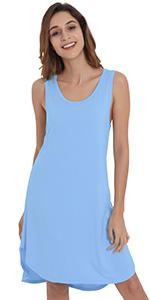 womens short nightgown sleeveless sleep shirt bamboo rayon night dress soft sleepwear pajamas gown