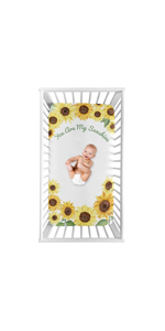 Yellow, Green and White Sunflower Boho Floral Girl Baby or Toddler Nursery Fitted Crib Sheet