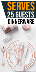 Rose Gold Plate Set 200 Pieces for 25 Guests Disposable Cups Knives Forks Straws Spoons Napkins Bday