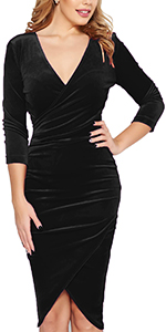 Fantaist Women 3 4 Sleeve V Neck Velvet Wrap Sheath Cocktail Party Pencil Dress
