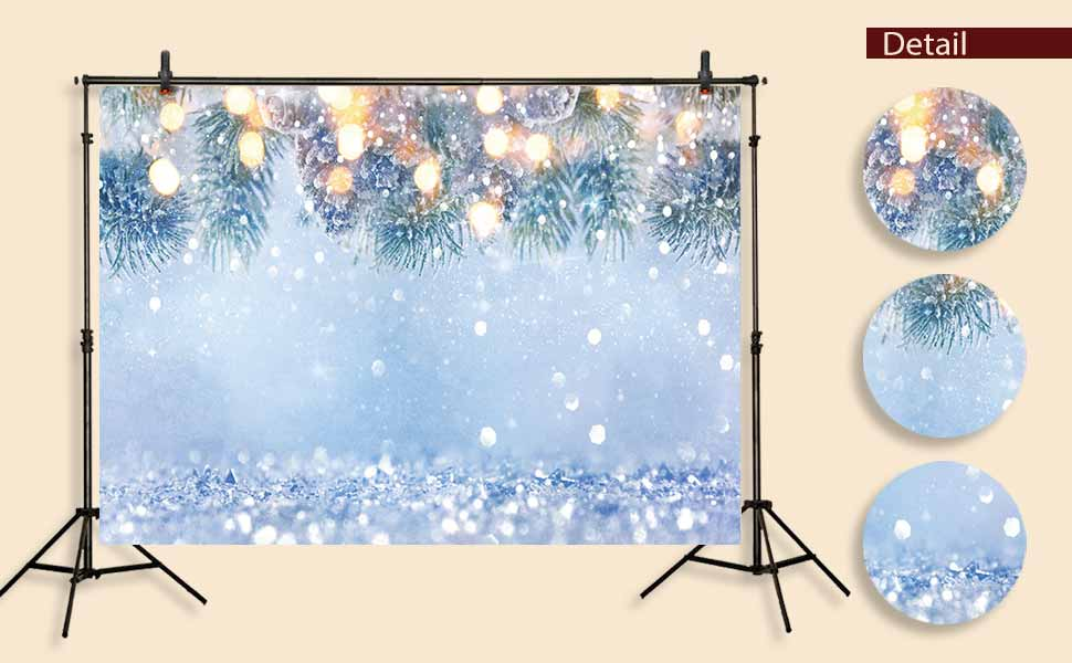 Funnytree 7x5ft Winter White Snow Tree Backdrop Christmas Wonderland Photography