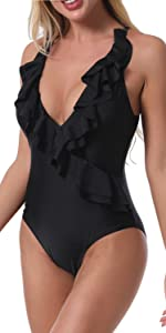 One Piece Swimsuits Ruffles