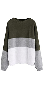 Milumia Women's Casual Drop Shoulder Color Block Striped Knitted Textured Jumper Sweater