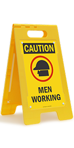 Caution Men Working, Folding Floor Sign, Hardhat, High-Impact Plastic