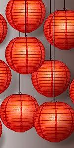 red lit lanterns
