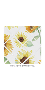 Yellow, Green and White Sunflower Boho Floral Fabric Memory Memo Photo Bulletin Board