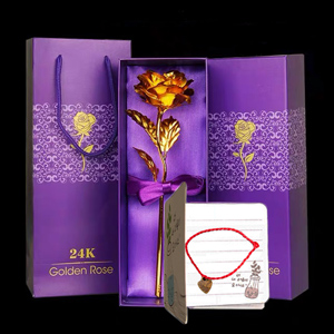 golden rose with gift box