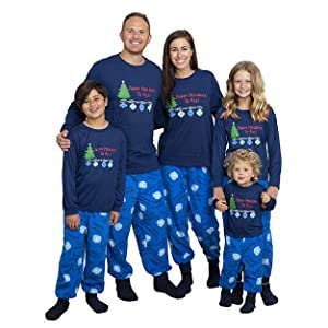 Family wearing matching set of pajamas.