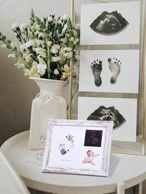 handprint frame on table