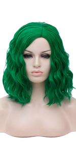 deep green short curly wig